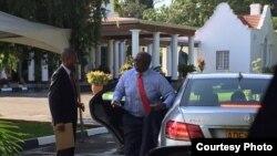 United States ambassador to Zimbabwe, Harry K. Thomas Jr., arriving at the Zimbabwe State House on Thursday. (Photo: U.S Embassy - Harare)