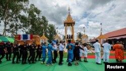Đám tang đặc nhiệm Samarn Kunan được tổ chức ở tỉnh Roi Et, Thái Lan, ngày 14/7/2018.