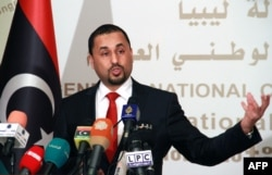 Saleh al-Makzom, Libyan deputy president of the General National Congress (GNC) speaks during a press conference on Jan. 29, 2015 in Tripoli,