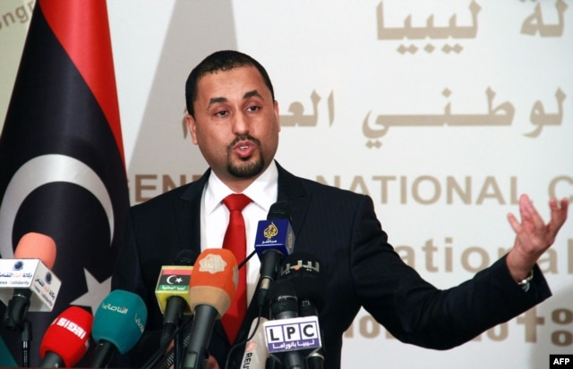 Saleh al-Makzom, Libyan deputy president of the General National Congress (GNC) speaks during a press conference on Jan. 29, 2015 in Tripoli.