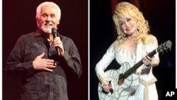 En una combinación de fotos vemos a Kenny Rogers (izquierda) actuando el 7 de marzo de 2013, en Lancaster, Pennsylvania y a Dolly Parton actuando en Filadelfia el 15 de junio de 2016.