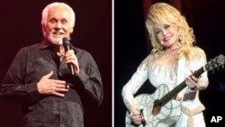 FILE - A combination photo shows Kenny Rogers (L) performing March 7, 2013, in Lancaster, Pennsylvania, and Dolly Parton performing in Philadelphia, Pennsylvania, June 15, 2016.