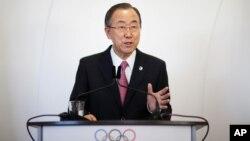 반기문 유엔 사무총장이 6일 러시아 소치에서 동계올림픽 개막을 앞두고 열린 기자회견에 참석했다.