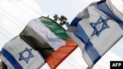 以色列沿海城市內坦亞路邊的以色列和阿聯酋國旗隨風飄揚(2020年8月16日資料照片)
