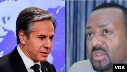 Waziri wa Mambo ya Nje wa Marekani Anthony Blinken na Kulia ni Waziri Mkuu wa Ethiopia Abi Ahmed.
