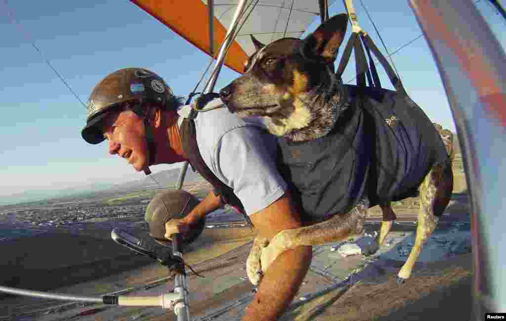 Dan McManus and his service dog Shadow glide together outside Salt Lake City, Utah, USA. McManus suffers from anxiety and Shadow's presence and companionship help him to manage the symptoms. The two have been flying together for about nine years with a specially made harness for Shadow.