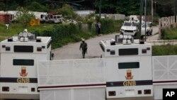 Los militares se fugaron durante el traslado desde un tribunal militar en Fuerte Tiuna (Caracas) a la cárcel de Ramo Verde, donde estaban prisioneros. Foto de archivo de la entrada a Ramo Verde.