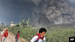 Villagers flee as Mount Sinabung releases pyroclastic flows during an eruption in Namantaran, North Sumatra, Feb. 1, 2014.