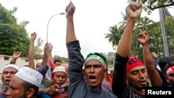 馬來西亞的羅興亞人在緬甸駐吉隆坡大使館抗議緬甸對羅興亞人的暴力活動。 (2017年9月8日)