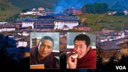 Two monks from Taktsang Lhamo Kirti Monastery in Dzoge county