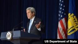 El secretario de Estado de EE.UU., John Kerry, habló en la Academia Naval en Annapolis, Maryland, el martes, 10 de enero, de 2017.