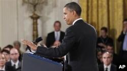 奥巴马总统周三在白宫举行的记者上
