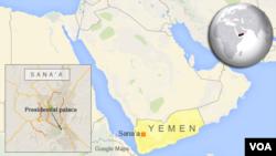 Peta wilayah Yaman dan letak kota Sana'a.