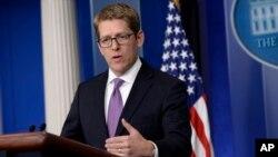 제이 카니 미국 백악관 대변인이 21일 정례브리핑을 북한 추가 핵실험 징후에 대해 발언하고 있다.