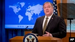 Secretary of State Mike Pompeo speaks during a news conference at the State Department in Washington, Wednesday, June 10, 2020.