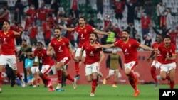Les joueurs d'Al-Ahly célèbrent leur victoire face aux Brésiliens de Palmeiras au Mondial des clubs, Qatar, le 11 février 2021.