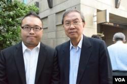 民主動力召集人趙家賢(左)及創辦人鄭宇碩。(美國之音湯惠芸攝)