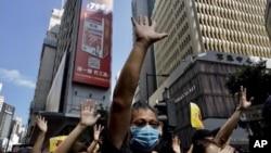 香港抗议者星期天(9月15日)继续举行抗议。(美联社)