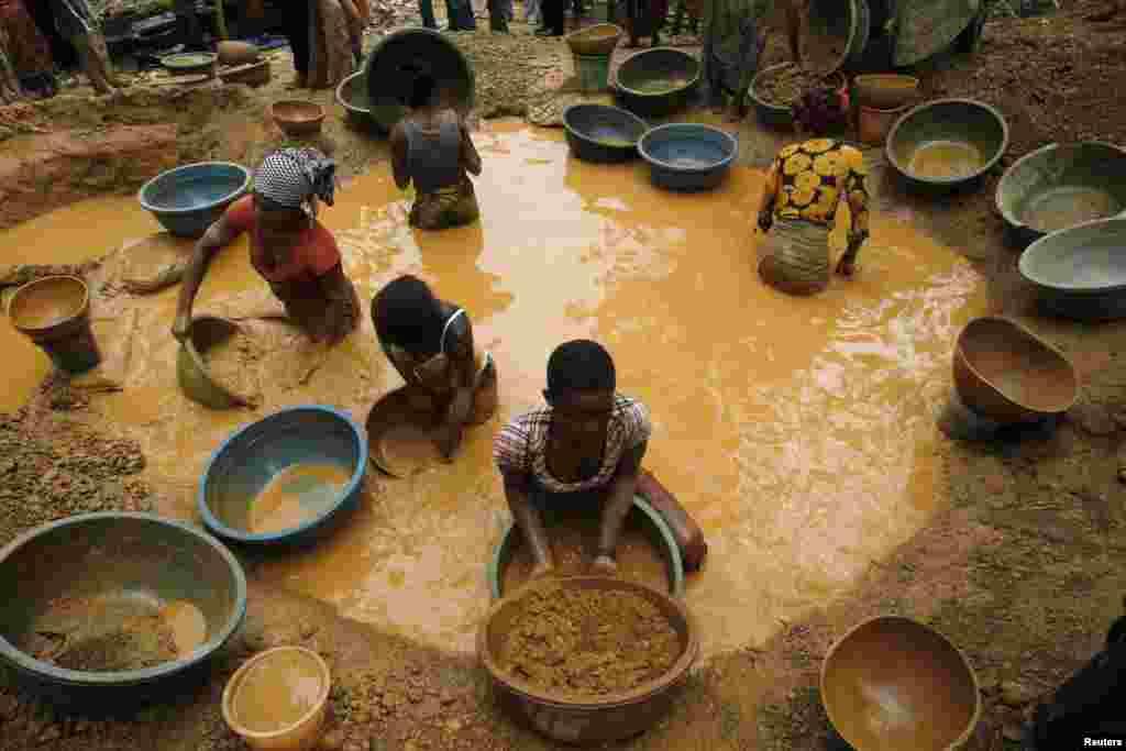 آئیوری کوسٹ کے مغربی علاقے کوکو فارم میںمزدور سونے کی تلاش کر رہے ہیں۔