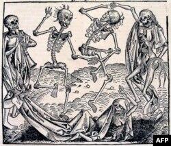 O dönem veba hastalığına atıfta bulunmak amacıyla sıkça çizilen 'Ölüm Dansı' temalarından Michael Wolgemut'un 1493'teki çizimi