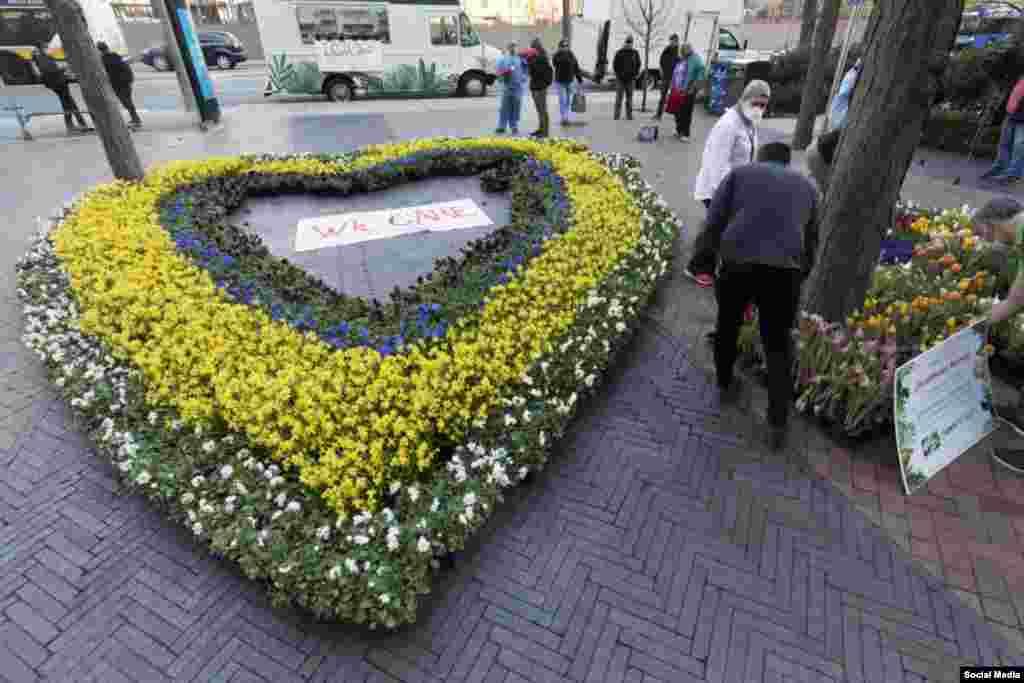 گلفروشیهای محلی به پاس قدردانی از کارکنان یک مرکز صحی در باستن امریکا، دسته گل عظیمی به شکل قلب به آنها اهدا کردند.