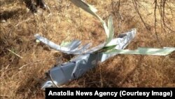 Turkey's state-run Anatolia News Agency released this image of what Turkey says is an unmanned aircraft shot down by Turkish forces Oct. 16, 2015, near the border with Syria.