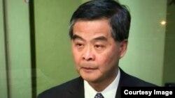 香港特别行政区特首梁振英宣布放弃竞选连任。(视频截图)