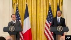 바락 오바마 미국 대통령과 프랑수아 올랑드 프랑스 대통령이 24일 백악관에서 정상회담 후 공동기자회견을 하고 있다.