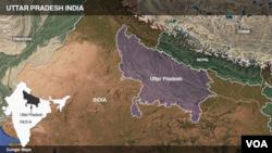 Letak kawasan Uttar Pradesh, India.
