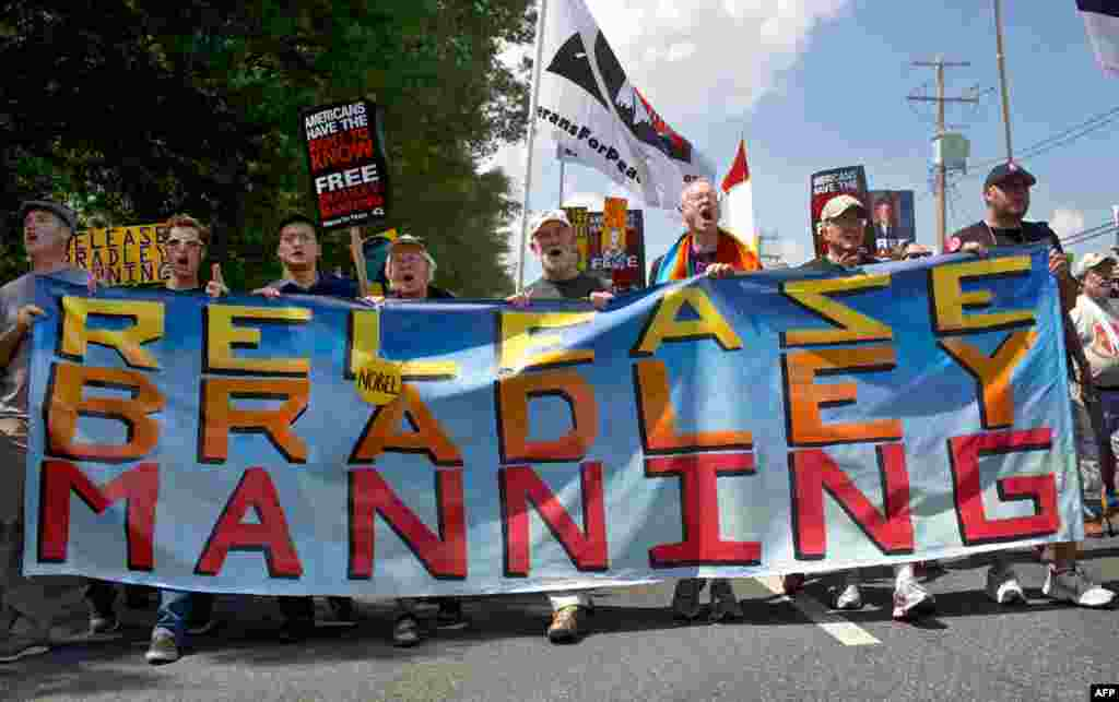 Participants in a mass rally in support for Pfc. Bradley Manning on June 1, 2013 in Fort Meade, Maryland.