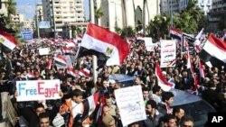 Wananchi wa Misri wakishangilia kujiuzulu kwa Rais Hosni Mubarak