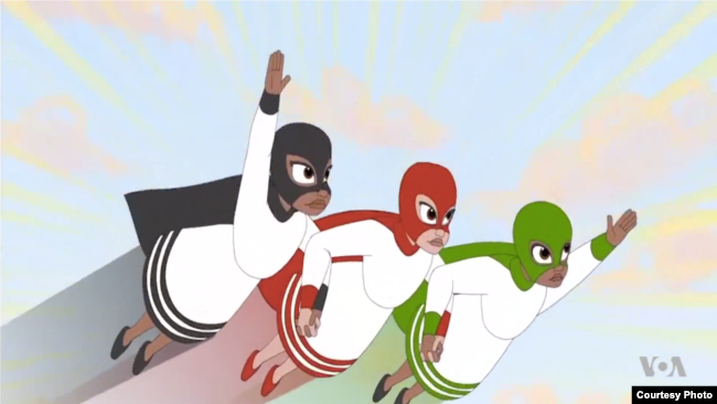 'Tibeb Girls' is an animated cartoon featuring three young girls who use superpowers to fight the injustice and oppression Ethiopian girls routinely face. (Screenshot from 'Tibeb Girls')