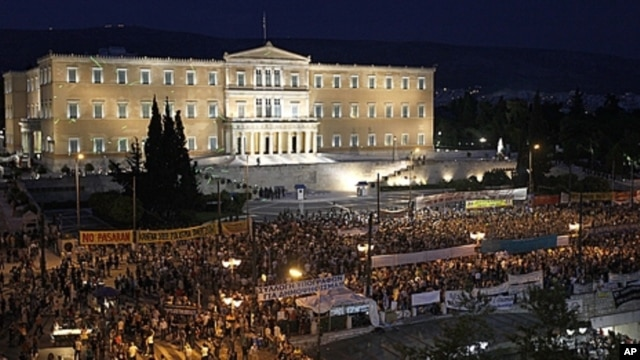 Demonstrators gather in front of the Parliament in Athens' main Syntagma Square, June 15, 2011