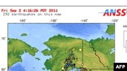 Tâm của trận động đất ở Alaska hôm 2/9/11 - Hình của Cơ quan Khảo sát Ðịa chất Hoa Kỳ