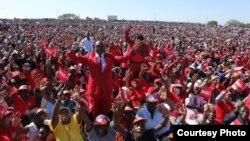 Part of the crowd at White City Stadium, Bulawayo