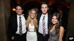 """Reese Mishler, Cassidy Gifford, Ryan Shoos dan Pfeifer Brown pada pemutaran perdana film """"The Gallows"""" di Los Angeles."""