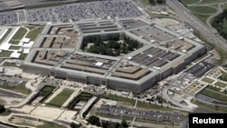 FILE - An aerial view of the Pentagon building is seen in Arlington, Virginia, near Washington, D.C.