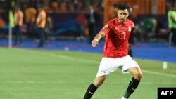 Mahmoud 'Trezeguet' Hassan lors du match d'ouverture de la CAN entre l'Egypte et le Zimbabwe, Egypte, le 21 juin 2019