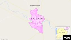 Bản đồ khu vực Hasakeh, Syria.
