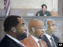 基尔帕特里克、伯纳德以及前市政承包商弗格森接受审讯(视频截图)
