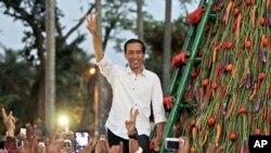 Presiden terpilih Joko Widodo dalam sebuah acara kampanye. (AP/Dita Alangkara)