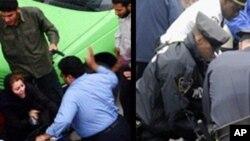 A polícia intervém para conter manifestantes
