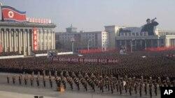 지난달 25일 북한 평양 김일성광장에서 유엔 북한인권결의안에 관한 국방위원회 성명을 지지하고 미국을 비난하는 평양시 군민대회가 열렸다. (자료사진)