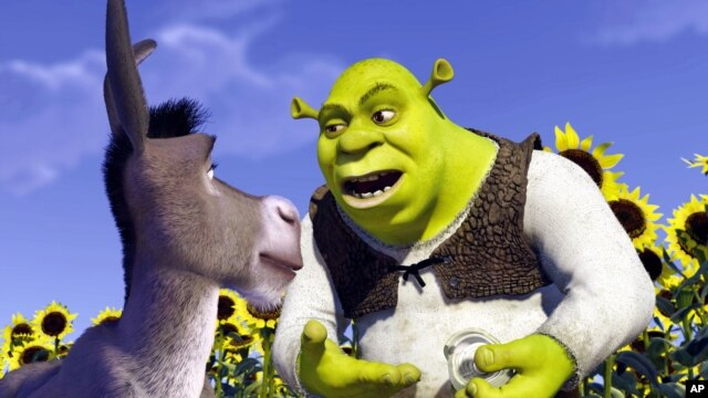 A scene from the animated film Shrek, which won the  inaugural trophy when the Animation category was introduced at the Oscars in 2002. It was also the first animated film to compete for the Palme d'Or since 1953.