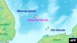 Các quần đảo trong vòng tranh chấp. Nam Triều Tiên gọi là Dodko, Nhật Bản gọi là Takeshima