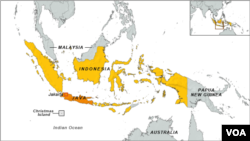 Map showing Indonesia, Australia and Papua New Guinea.