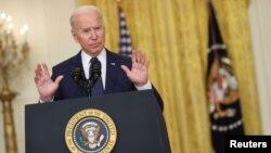 Prezidan Joe Biden pwononse yon diskou sou Afghanistan nan Chanm Es Mezon Blanch la nan Washington, 26 Out, 2021.
