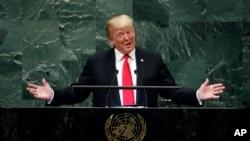 Tổng thống Mỹ Donald Trump phát biểu tại phiên họp của Đại hội đồng Liên Hiệp Quốc hôm 25/9. Ông Trump trước đó nói sẽ không gặp mặt Tổng thống Iran.