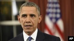 美国总统奥巴马12月6日晚间罕见的在椭圆形办公室向全国人民发表有关反恐的电视讲话