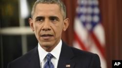 奥巴马在白宫对美国全国发表讲话,谈美国打击伊斯兰国组织